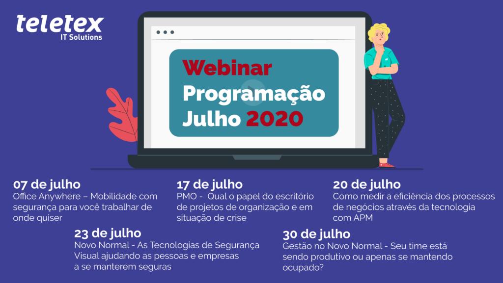 Programação webinars de Julho Teletex